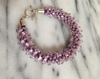 Purple Lined Magatama Beaded Kumihimo Bracelet *FUND RAISING ITEM*