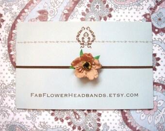 Small Tan Newborn Headband - Little Tan Wildflower Baby Headband - Brown Skinny Headband - Petite Tan Flower - Photo Prop - Organic Look