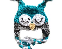 Owl hats for baby  crochet owl hat newborn photo prop blue newborn owl hat toddler owl hat