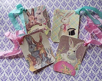 4 Vintage Inspired Easter Hang Tags - Pink - Stamped - Favors - Gift wrapping