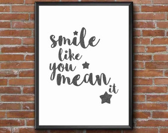 Typography Art Print - Smile, part 1 v1 - 1 of 2 - the killers song lyrics - glam faux black glitter script fab wall art gift under 25