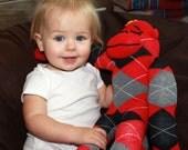 Red Sock Monkey Doll - Argyle