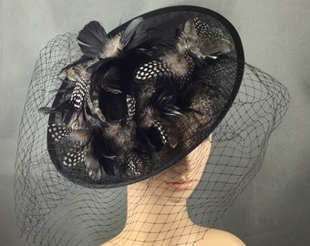 Black Feather Fascinator with Headband and Veiling, Black Funeral Fascinator