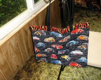 HOT ROD CARS Bag XLg Reusable Fabric Grocery, Farmers Market..w/long poly straps affordable Eco-Friendly Gift