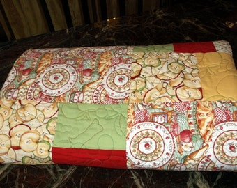 """TWIN  LAP QUILT Price Reduced  Apple Pie Quilt appx 62""""X84"""" in red/green/maize  gift for mom/grandma"""