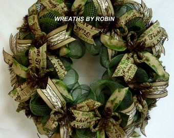 Hunting Fishing Wreaths, Rustic Fishing Wreaths, Cabin Wreaths (2279-2)