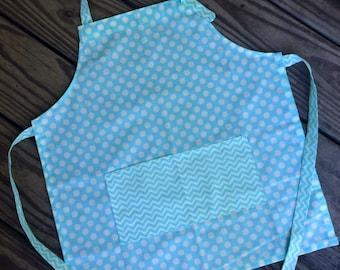 Kids apron, childs apron, childrens apron, art smock, cooking apron, small size, aqua polka dots