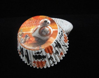 BB8 Cupcake Liners, Star Wars Cupcake Liners, Baking Cups, Star Wars Party, Muffin Cups, Cupcake Cups, Muffin Papers - Quantity 25