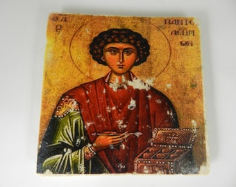 St Panteleimon Greek Orthodox Icon Stone Plaque Religious Decor Christian Saint Icon Art