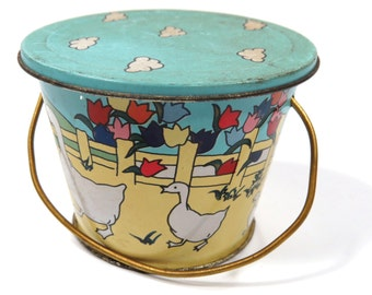 Small Vintage Toy Sand Pail with Lid, Tin Lithograph, Ducks, Flowers & Clouds, Child's SUMMER Fun