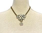 Necklace, Vintage Rhinestone Drop Pendant by dabchickvintagegems on Etsy