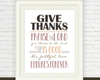 Thanksgiving Download Scripture Art // Instant Download // Give Thanks Bible Verse // Psalm 106:1 Printable // Christian Print JPEG