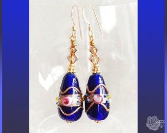 Hook Earrings Light Colorado Topaz Swarovski Crystal Bicones 18K Gold Vermeil Beads Navy Blue WeddingCake Lampwork 14K Gold-Filled Ear Wires