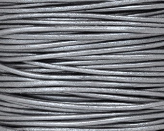 Leather-2mm-Round Cord-Metallic Grey-10 Meter Spool