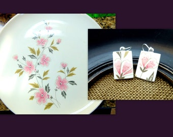 Pink Poppies -  Recycled BROKEN CHINA PLATE earrings