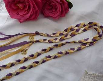 Purple gold ivory Handfasting cord-  with charms