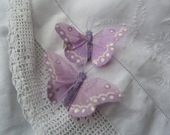 Lilac and white feather butterfly hairclips