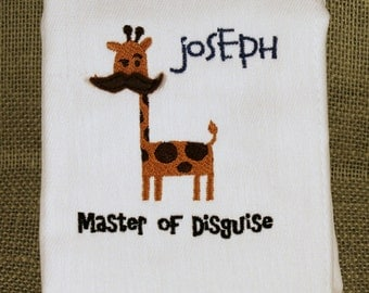 Personalized Embroidered Burp Cloth Master Of Disguise Giraffe
