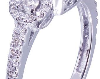 GIA I-SI1 18k White Gold Round Cut Diamond Engagement Ring Set Halo 1.70ctw