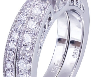 14k White Gold Round Cut Diamond Engagement Ring And Band Art Deco Antique Style 1.45ctw