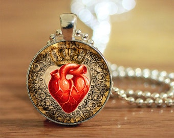 Lace Heart Pendant, Heart Jewelry, Anatomical Jewelry