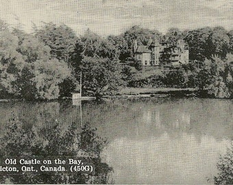 Old Castle on the Bay PICTON Ontario Vintage Postcard 1948 Castle Villeneuve Historic Location in Charming Prince Edward County
