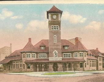 PORTLAND Maine Grant Trunk Railroad Station - Unused Vintage Postcard Massive Clock Tower