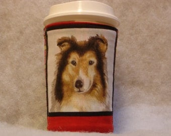 Arti REVERSIBLE Coffee Cup Sleeve, For STARBUCKS To-Go Cups /COLLIE with Pocket