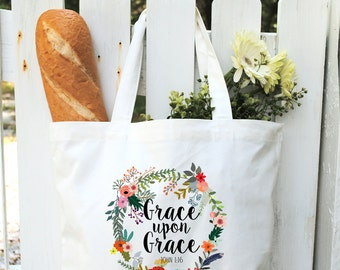 Cotton Canvas Tote Bag-Scripture Tote Bags-Monogrammed Canvas Bags-Bridesmaids Gifts-Bridal Party Favors