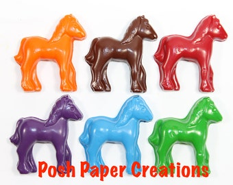20 sets of 2 horse crayons in cello bag tied with ribbon