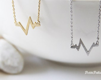 Heart Beat Necklace in Gold/Silver. Chevron Necklace. Minimalist Jewelry. Simple and Chic. Collarbone Necklace. Gift For Her (PNL- 140)