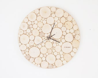 "natural white birch forest wood clock (extra large) - 24"", heart and initials, modern rustic wall clock, wood slices wall art, tree branch"