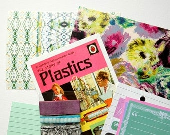 SALE Mail art/crafting kit in turquoise and pink. Mixed postcards, tape, labels, stickers, clips and embellishments. *Interesting Bits*