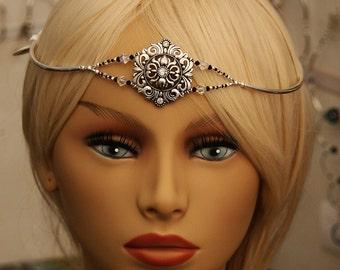 Headpiece Swarovski crystal and silver doublestranded brockus creations