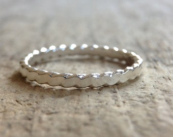 Filigree Ring, Flat Twist Ring, Flat Sterling Ring, Braided Ring, Stackable Ring, Silver Band,  Bohemian Ring, Bohemian Jewelry