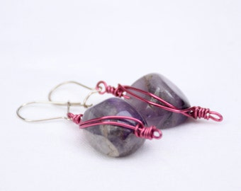 Amethyst Nugget Earrings - Wire Wrapped - Violet - Purple - Pink - Herring Bone Wire Wrap - Dangle Earrings - February Birthstone