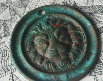 Vintage Lion Mount - Handcrafted Verdigris Figural brass Up-Cycled Medallion