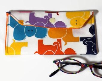 Reading glasses case, fabric eyeglass case, glasses holder, sunglasses case, lightly padded  eyeglasses pouch, elephants