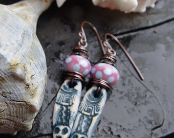 Artifacts - Artisan Stoneware and Artisan Lampwork with Copper Earrings
