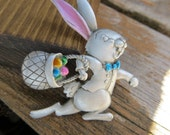 Easter Bunny Brooch Happy Bunny with Easter Basket Pewter Finish and Pastel Colors signed J.J.