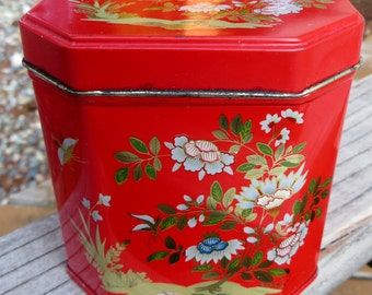 Red Floral Small Tin Box with Hinged Lid Small Red Tea Tin with Flowers Asian Style