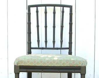 Faux Bamboo Chair, Hollywood Regency Chinese Chippendale, Chinoiserie, Tropical Palm Beach, Local Pick Up Only