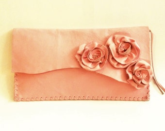 leather clutch pink with flower roses whip stitching by Tuscada. Ready to ship