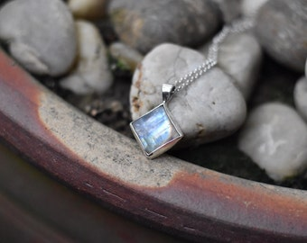 Diamond Shaped Rainbow Moonstone Necklace Sterling Silver OOAK