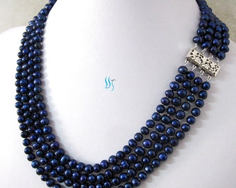 Pearl Necklace -18-21 inches 5-7mm Navy 4Row Freshwater Pearl Necklace Strand Jewelry - Free shipping