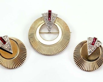 MARCEL BOUCHER Circular Brooch and Earring Demi - Art Deco Style
