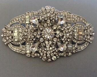 Bridal Sash Brooch Art Deco Rhinestone for Bridal Wedding Sash Belt Brooch, Wedding Jewelry, Accessories, jewelry, vintage style
