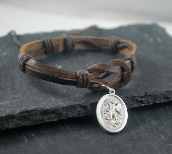 St Michael Leather Bracelet