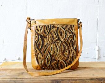 John Romain Purse • Carpet Bag Purse • Tapestry Bag • 70s Leather Tote Bag • Bohemian Bag • 70s Leather Bag    B533