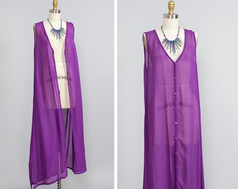 Purple Sheer Duster • Chiffon Dress • Button Up Dress • Beach Coverup • Column Dress • Sheer Dress • Maxi Dress • Duster Vest | D876